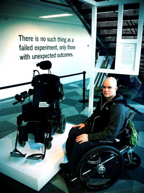 mark-with-christopher-reeves-chair-at-fail-better-exhibition